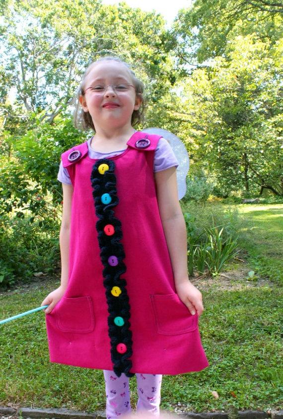 Buttons and Ruffles Toddler Jumper Dress6T by SweetPotatoPrincess, $55.00