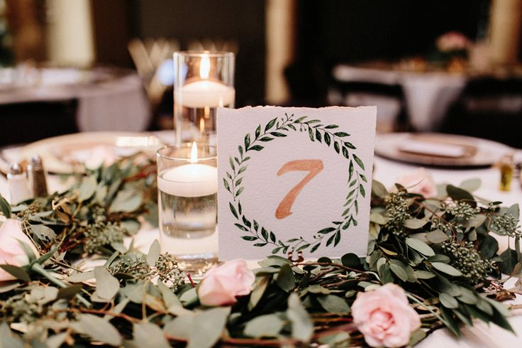 Rustic elegant wedding centerpiece and table number idea (Gloria Goode Photography)