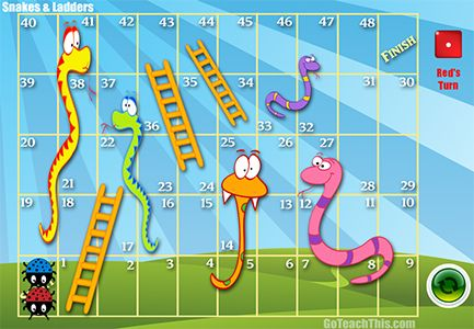 Snakes and Ladders - a FREE ONLINE or PRINTABLE  for sight words or Math Facts. Print it out or play it on the smartboard.