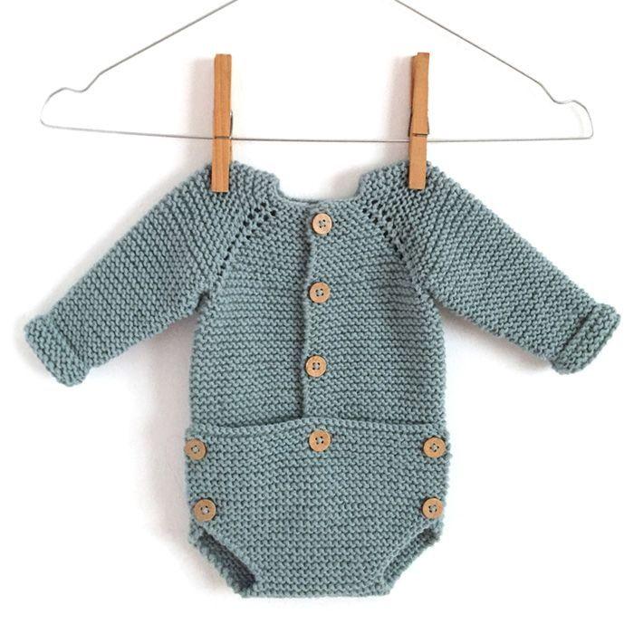 """Pelele de punto """"Musgo Baby"""" -Patrón y tutorial via @https://es.pinterest.com/martaporcel/"""