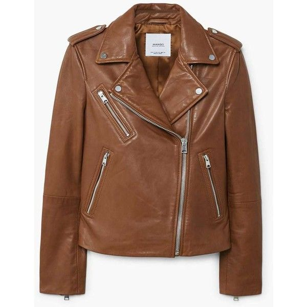 Leather Biker Jacket (9.530 RUB) ❤ liked on Polyvore featuring outerwear, jackets, leather moto jacket, embellished leather jacket, moto jackets, leather motorcycle jacket and brown motorcycle jacket
