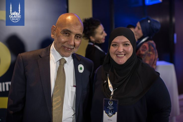 Islamic Relief's co-founder Dr. Hany El-Banna and Islamic Relief Bosnia-Herzegovina staff Lejla stand together for a photo at the 25th anniversary event in Bosnia.