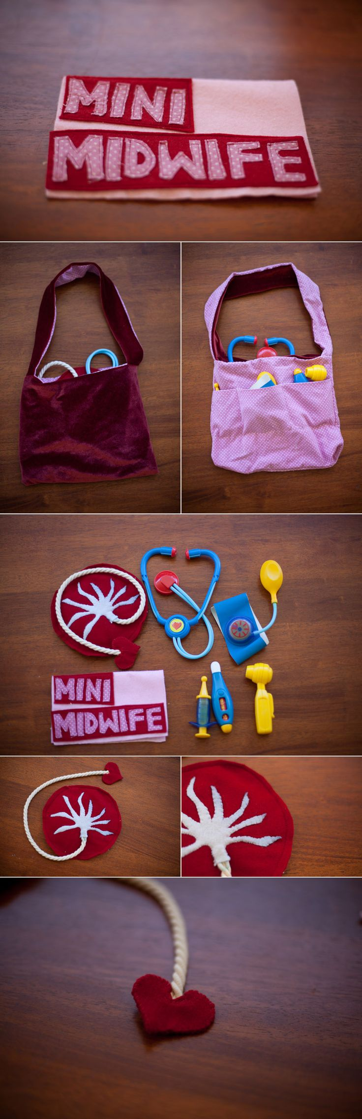 Mini Midwife Kit, complete with stuffed placenta!... This would be cute to have in the exam rooms for older siblings who come along to appointments