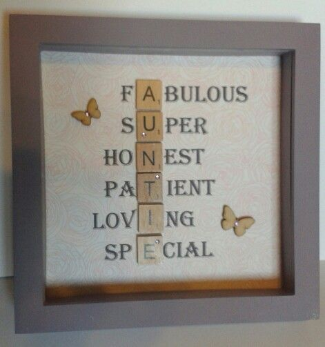 Scrabble Tile frame for a special auntie.