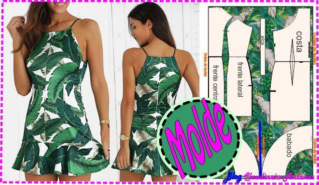 Molde de vestido curto gratis, moldelo com alcinha e babado na saia tipo sino, e so baixar o molde imprimir e costurar seu vestido lindo, molde tamanho M