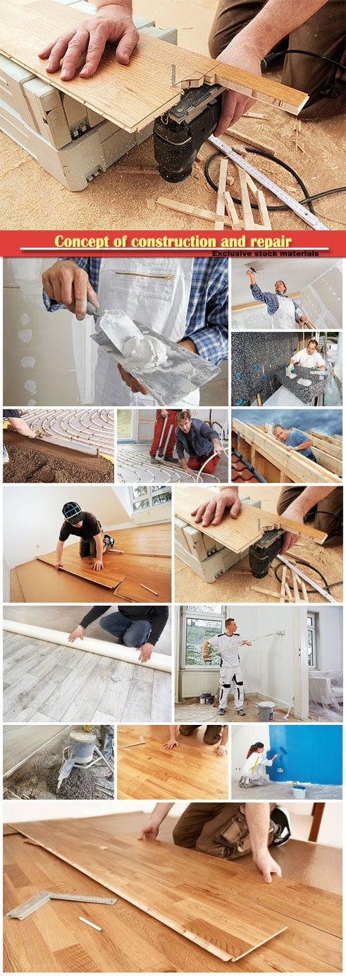 Concept of construction and repair parquet installation mounting thermal insulation boards studwork: fixing the plaster boards Free Download