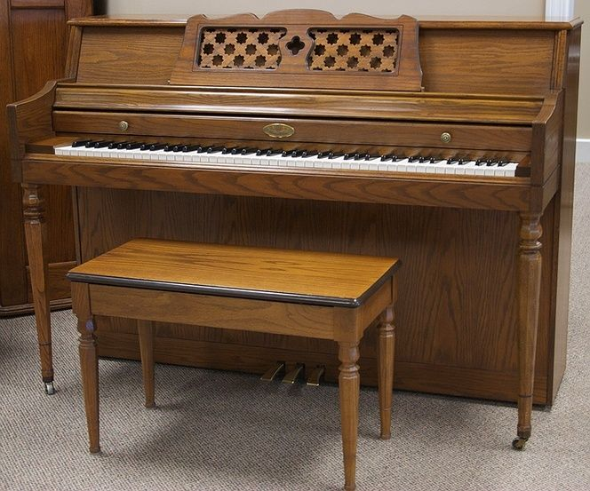 1973 #Wurlitzer #Oak #Console #Piano Octagonal legs mirror the starburst cutouts found throughout the woven music rack. If you take a look inside the cabinet, you'll be sure to find a clean action. Don't forget the matching bench too! Now for the sound… this pianos full, balanced tone will fill your home with the joy of music. From beginner to advanced pianist, this Wurlitzer will have you wanting to play all night and day. [...]