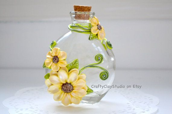 Sculpted Flowers - Flower Decor - Polymer Clay Flowers - Flower Vase - Decorated Bottle - Embellished Bottle - Fantasy Decor - Glass Bottle