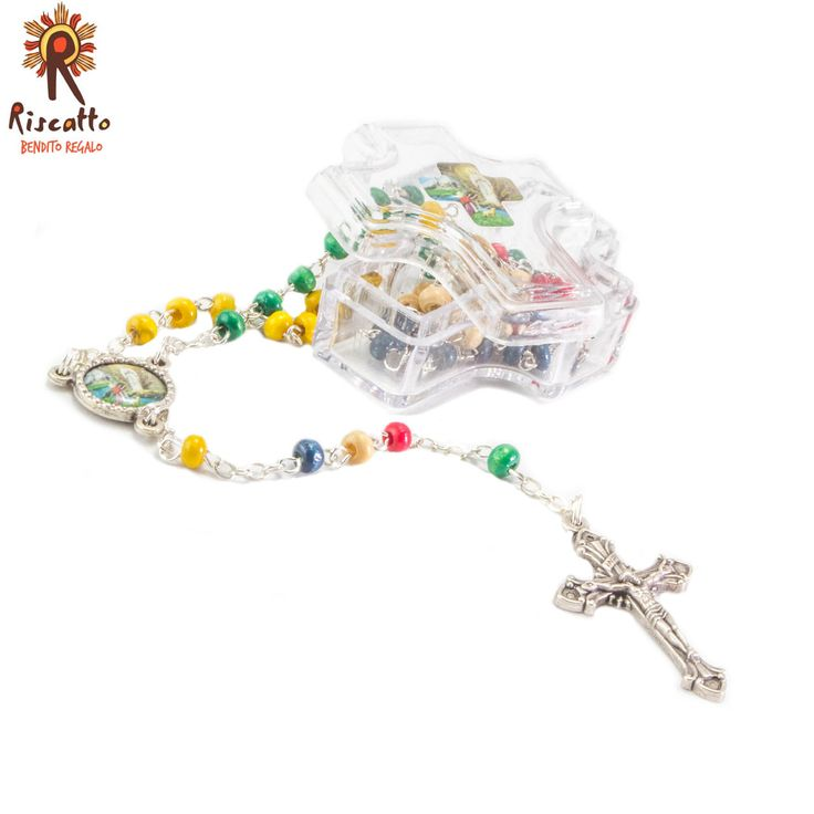 Rosario de las misiones, Virgen de Lourdes, Disponible en caja de flor o cruz transparente.