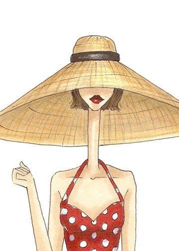 Fashion Illustration Print, summer time Katie Doll