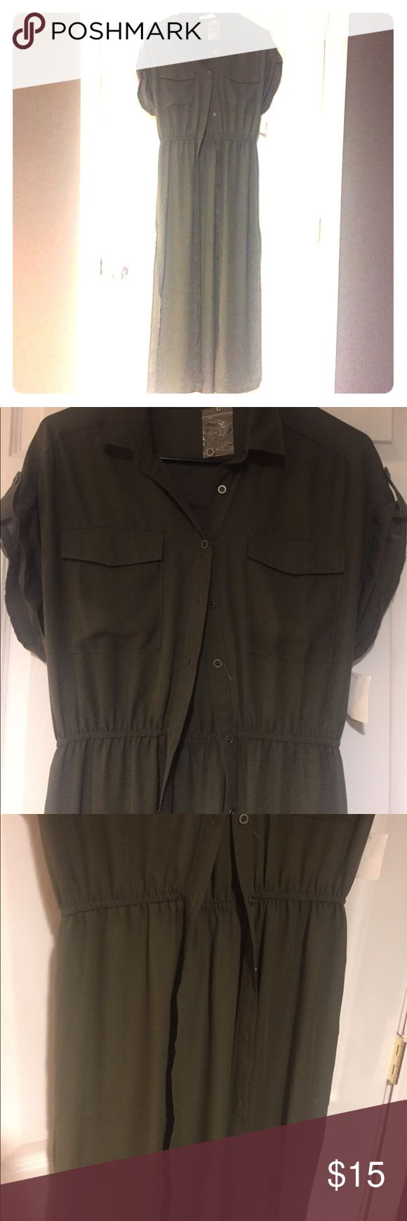 Long sheer button down dress/coverup Olive green open front trench length dress to pair with a bandeau and Lycra shorts for a sexy/classy look. Or you can wear open over a bikini. Brand new with tags. Purchased at Century 21. Lush Dresses