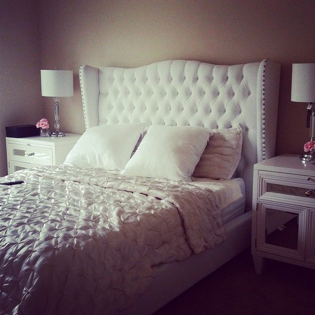 @dianna_vu's bedroom is gorgeous & elegant with our Jameson Bed, Concerto Nightstands, and Sophia Bedding.