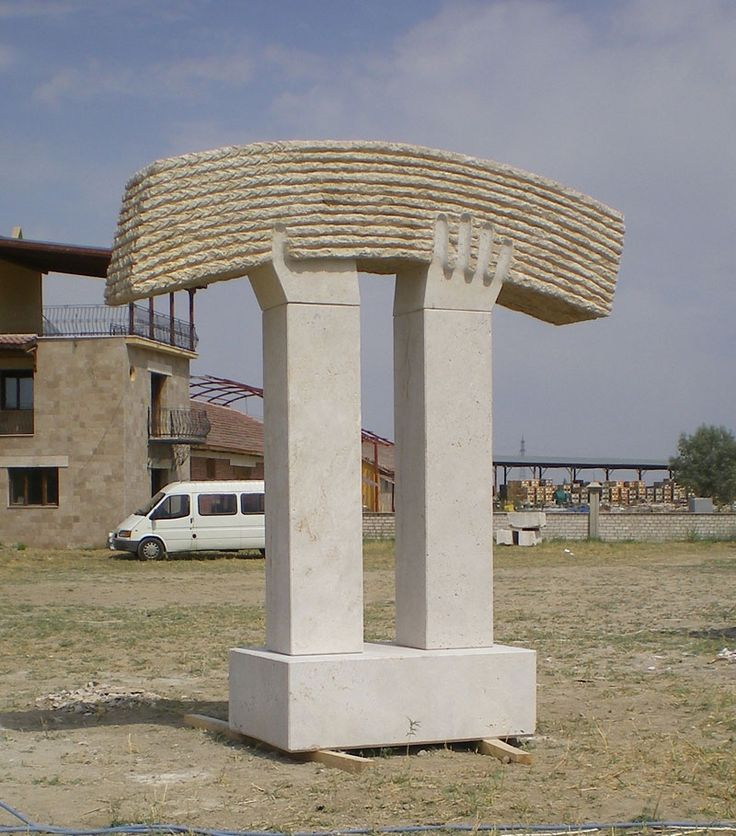 """Harvest"". 2008.  Travertine.  360 x 300 x 100 cm.  Salihli, Turkey."