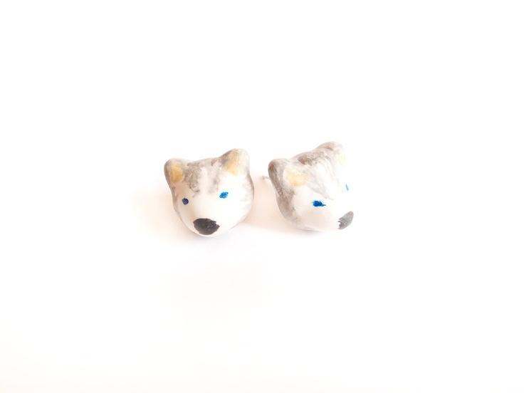 Miniature husky earrings by Openspring on Etsy, $22.00