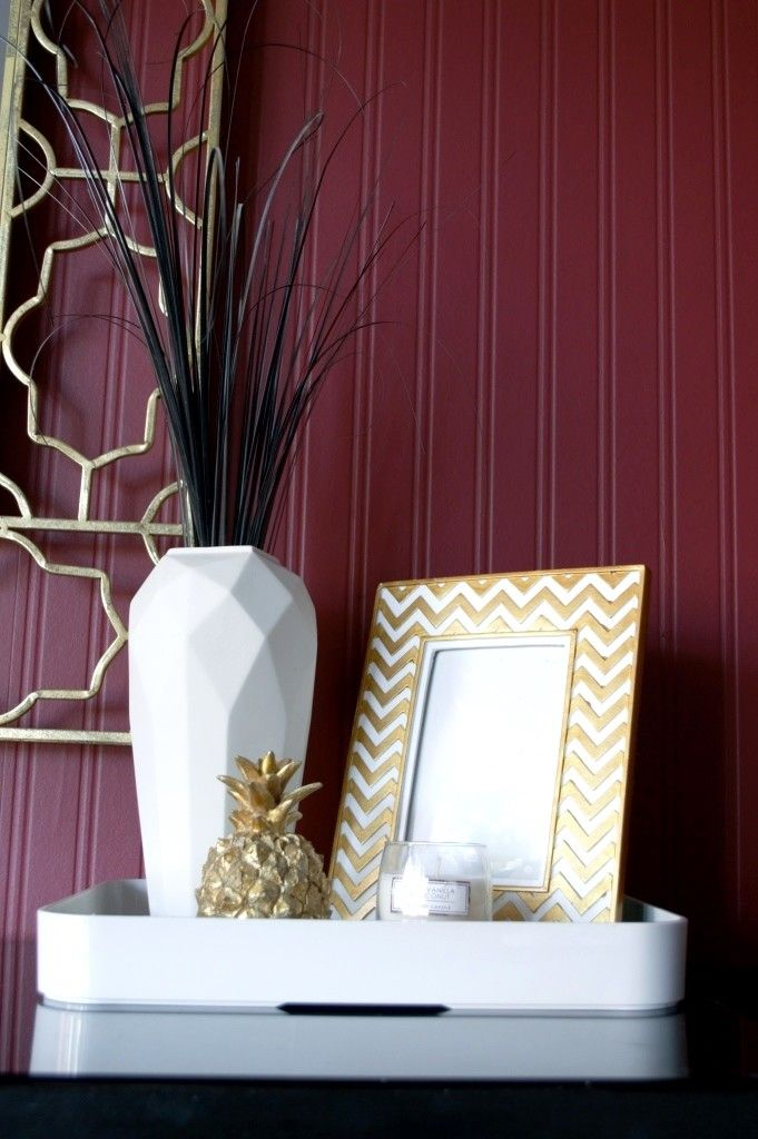 Master bedroom makeover with Valspar (Ruby Begonia) - Perfect for the marsala trend