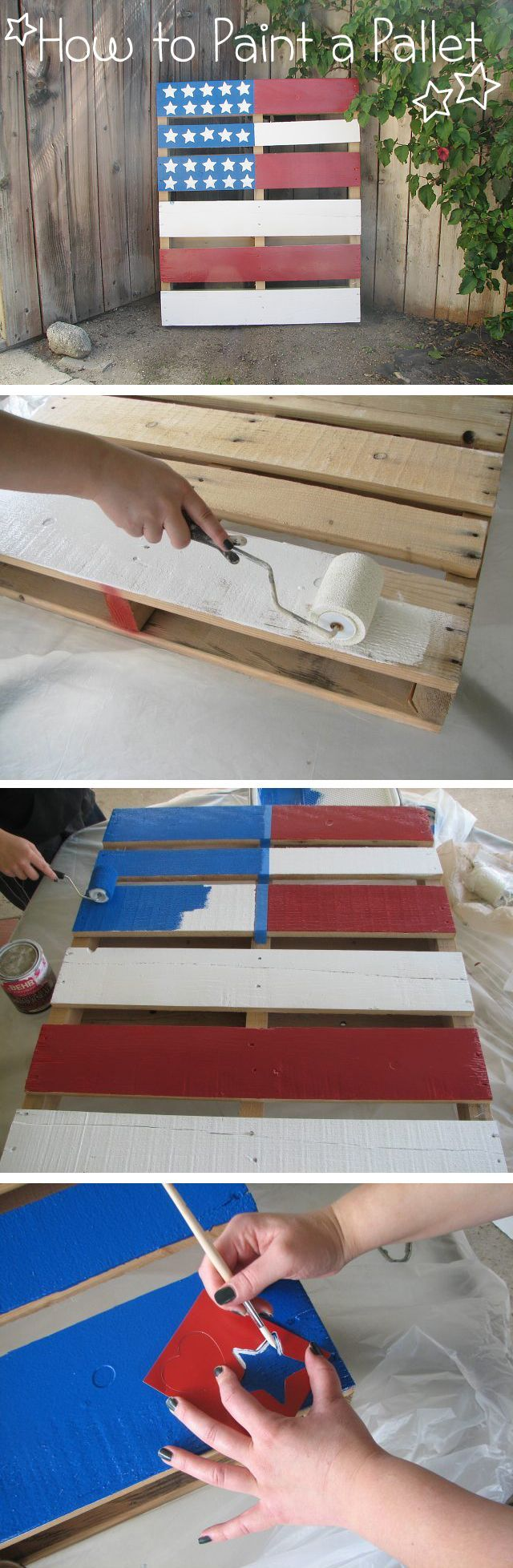 Paint a pallet for awesome outdoor (and indoor) decor! How to instructions here: http://www.ehow.com/how_7854974_paint-pallet.html?utm_source=pinterest.com&utm_medium=referral&utm_content=inline&utm_campaign=fanpage