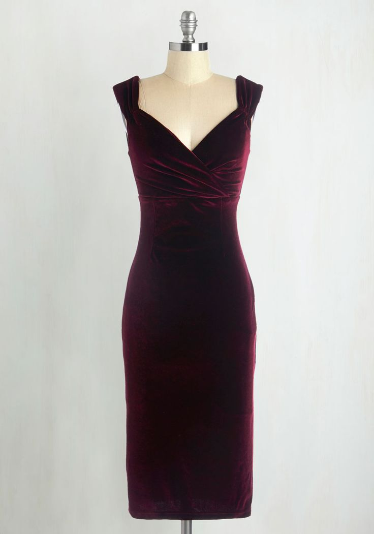 Lady Love Song Velvet Dress in Merlot - Red, Solid, Special Occasion, Party, Cocktail, Holiday Party, Valentine's, Pinup, Vintage Inspired, Sleeveless, Velvet, Variation, Long, 50s, Winter, Bodycon / Bandage, Top Rated, Homecoming