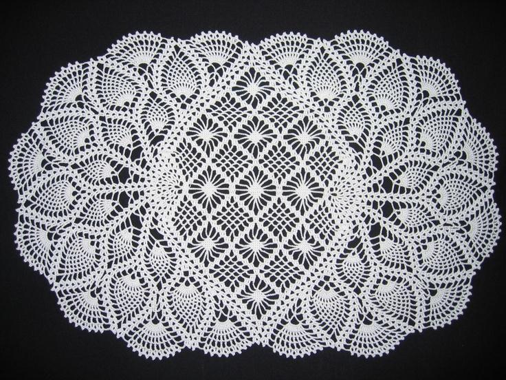 Oval crochet pineapple doily