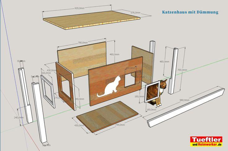 Katzenhaus-DIY-Projekt-Sketchup-Skizze-Zerlegt #Katzenhaus
