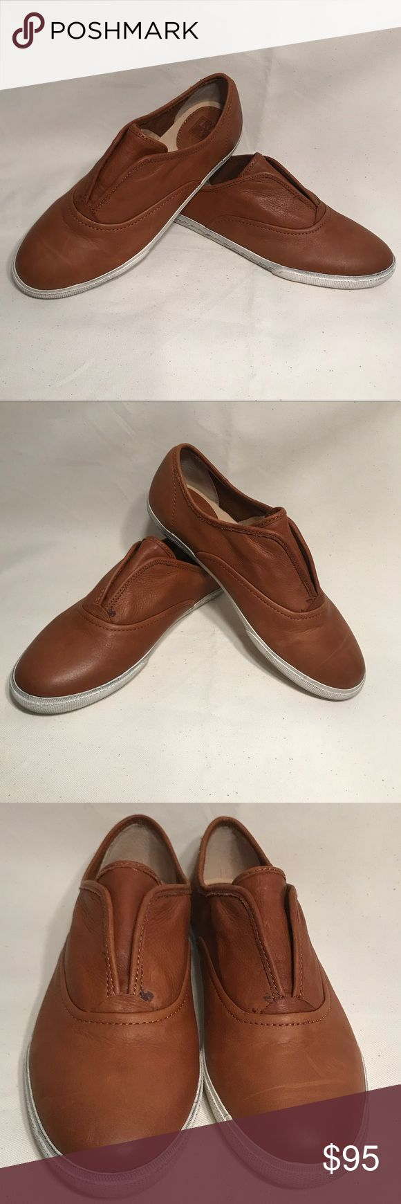 NIB FRYE  Mindy Slip On Shoes Size 9M New in the box FRYE slip on shoes. These shoes are cute and casual. The color is Whiskey & the style is Mindy. Please note that the rubber sole of the shoe is supposed to look dark and off color. The size is 9M. Frye Shoes Flats & Loafers