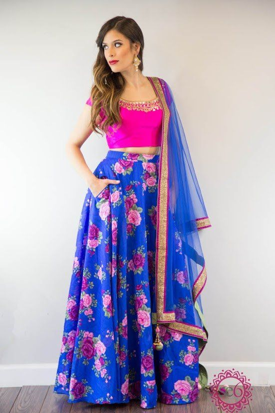 "Mirror silk embroidered blouse with matching floral skirt. Added plus - this lehenga skirt has pockets! This style can be made with a floral blouse and and plain silk skirt as well!  Please allow 6 - 8 weeks for this item to ship. If you need the piece sooner, please feel free to send us a note to see if we can accommodate a rush order.  For a custom size, please select ""Custom"" in each of the options. A measurement form will be sent via email after the order has been placed.  Note: The…"