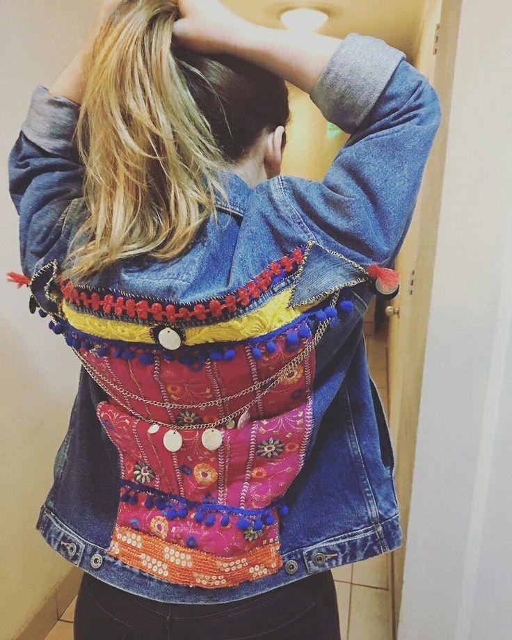 Puntinesia Chic: intervención en chaquetas de mezclilla hecho 100 % a mano!