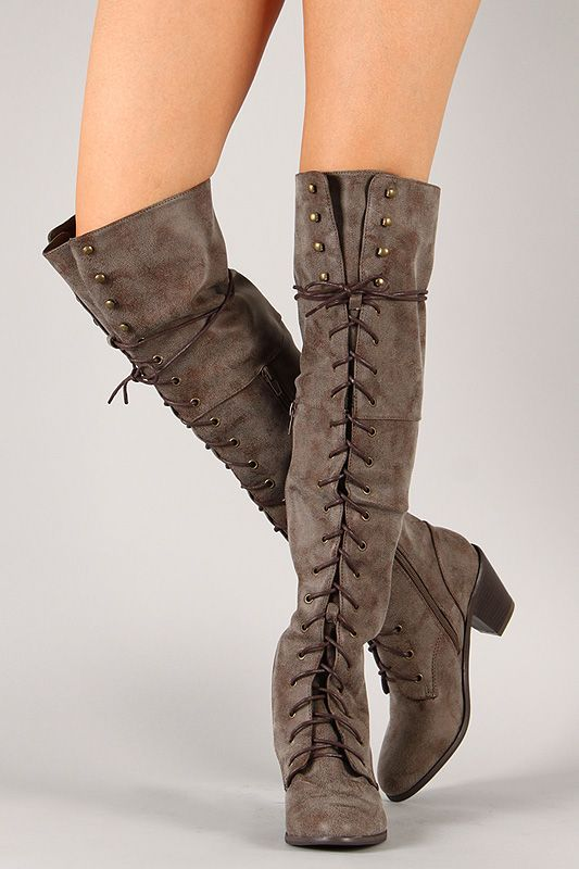 Shoe Republic Halle Military Lace Up Thigh High Boot
