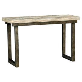 """Accent this distressed pine wood side table with fresh flowers for a soft contrast or set it beside a leather sofa to complement its industrial feel.   Product: Side tableConstruction Material: Pine wood and metalColor: Pewter and naturalDimensions: 30"""" H x 48"""" W x 18"""" DAssembly: No assembly required"""