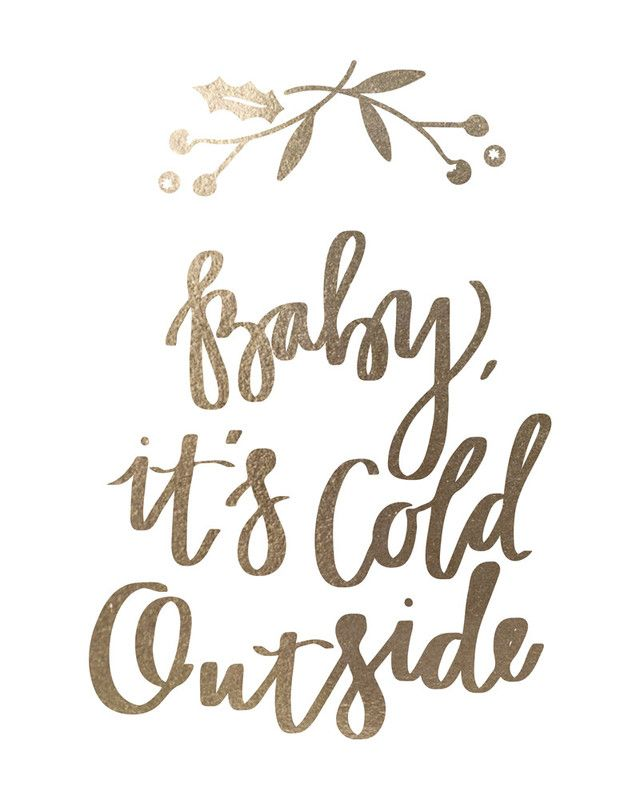 baby it's cold outside: gold-foil holiday art print