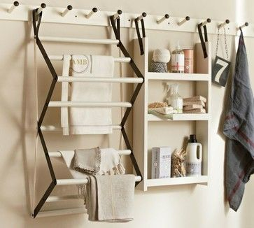 contemporary laundry products by Pottery Barn Gabrielle Laundry System - I love this wall system! The peg rack serves as a multifunctional unit for a utilitarian space, and the narrow design of the rack and shelving units is a big space saver in smaller spaces. Charming and functional!