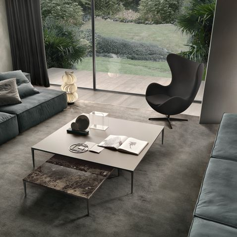 Tray coffee tables with structure in brown aluminum, Emperador marble top and mat lacquered caffé glass top.