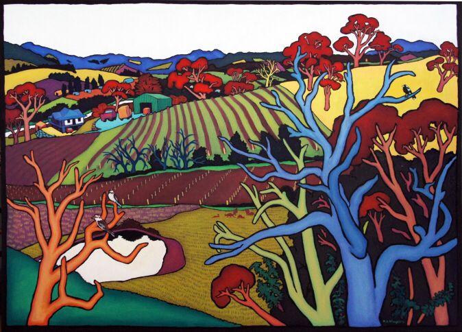 Winter View From  Studio. Margaret McLoughlin, Yarra Valley artist, Victoria.