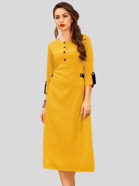 99455b9a137c35 Cotton Yellow Plain Straight Kurti | Long Straight Kurti Designs in 2019 |  Plain kurti designs, Frock style kurti, Kurti sleeves design