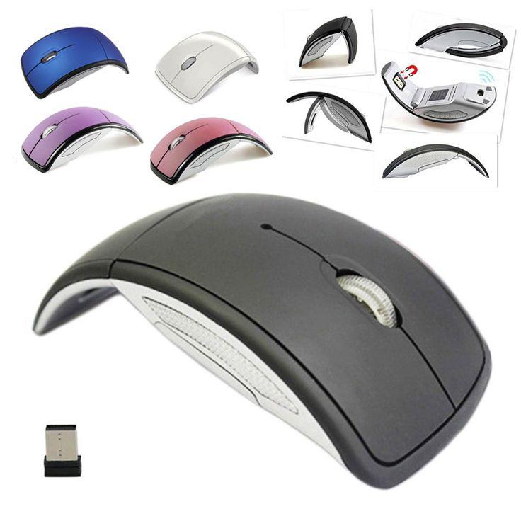 Caliente Ultrafino de 2.4 GHz Plegable Arco Ratón Óptico Inalámbrico con Mini Receptor USB para PC Pad Laptop Notebook Computer