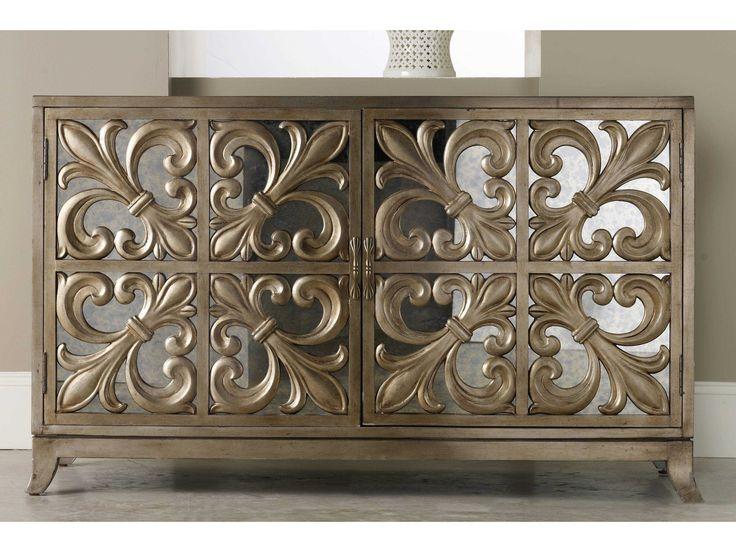 Hooker Furniture Melange Gold 56''L x 22''W Rectangular Fleur-de-lis Mirrored Credenza Buffet