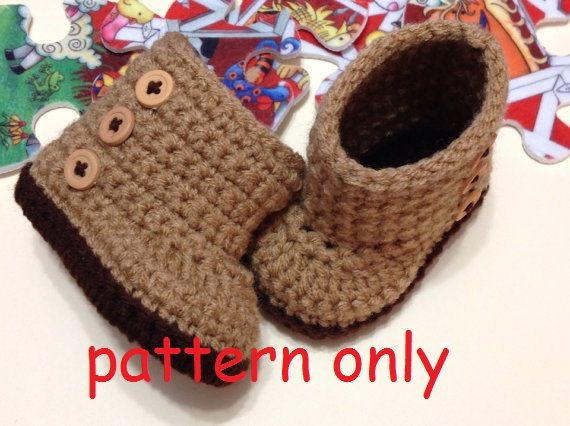 PDF Crochet Pattern Baby Boots newborn size 12. by Hooked4Babies, $1.00
