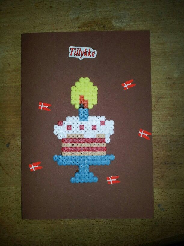 Pearl beads hama birthsday card