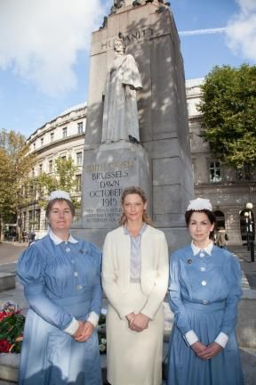 Actress and Patron of Cavell Nurses' Trust, Sophie Ward at wreath-laying ceremony in London with nurses Gayle McDonnell and Shirley Turrell from the Royal London Hospital #edithcavell #nurse #ww1