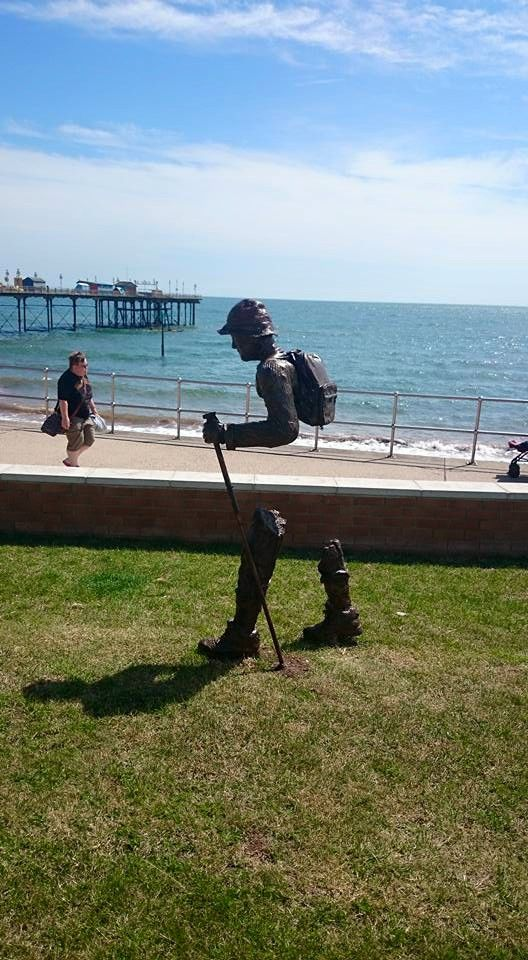 Hiker arrived at Teignmouth pier Devon
