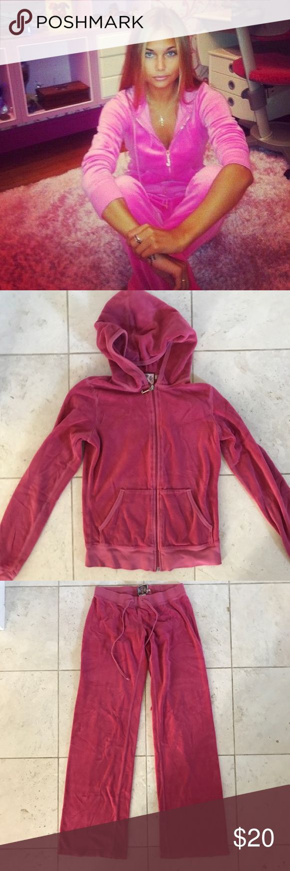 Magenta Juicy Couture Sweatsuit Good condition velour sweatsuit. Some wear and tear as shown in photographs.  Sold only as set. Top size S Pants size P. Juicy Couture Tops Sweatshirts & Hoodies
