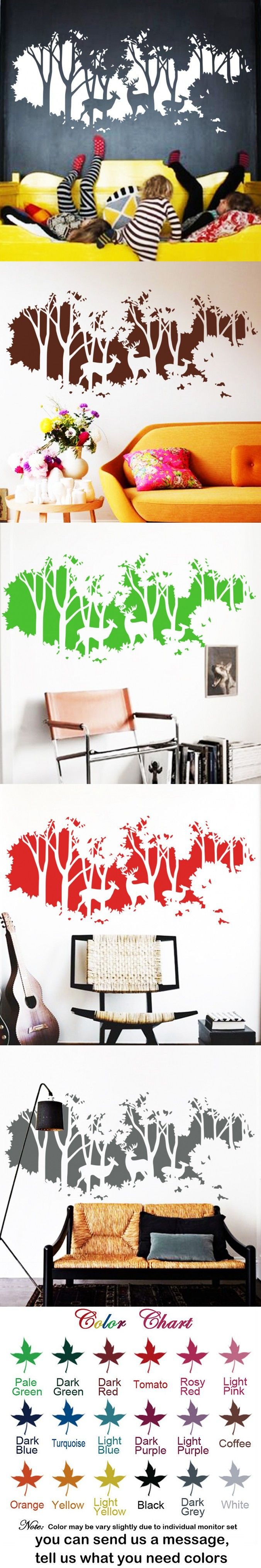 best 25 large wall stickers ideas on pinterest large wall 2016 deers in forest wall sticker diy vinyl large wall stickers home decor wall art decals home decoration for bedrooms