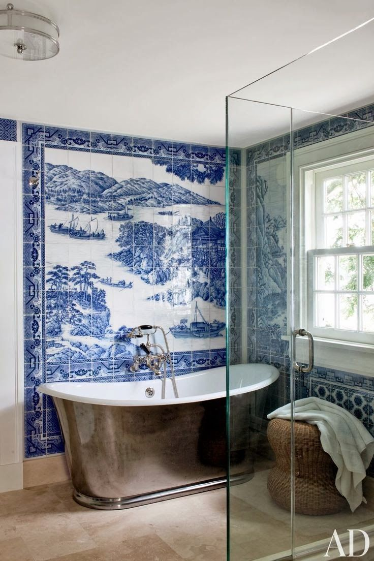 174 best blue and white decorating ideas images on pinterest my dream bathroom cobalt delftware is my absolute favorite blue and white tile mosaic in shelter island bath mural by chelsea arts tile stone