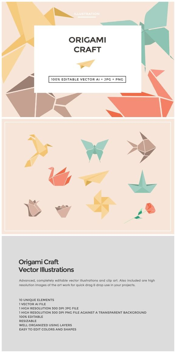 Origami Craft Illustration Vectors 10 Popular Origami crafts in vector .AI and .PNG 300 DPI format for easy use on blogs, websites, books, scrapbooks and more.   The vector elements a... https://creativemarket.com/MeeraG/221301-Origami-Craft-Illustration-Vectors