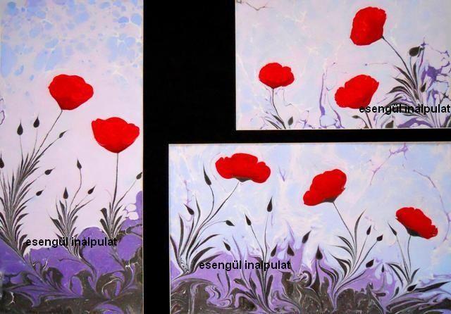 Esengul Inalpulat (©2010 artmajeur.com/kirmizi) özgün serbest gelincik çalışması,  ( Ebru,  Marbling art )