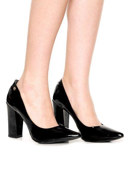 51177663f Scarpin VIA UNO Verniz Salto Grosso Preto | Sapatos | Saltos grossos ...