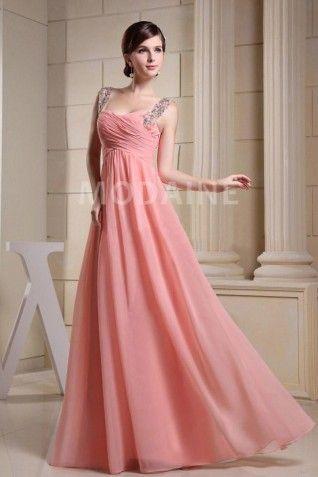 Chiffon robe de soirée grossesse pour mariage froncée