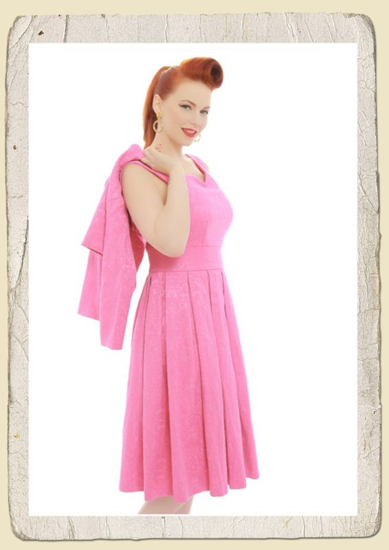 Lindy Bop Marianne' bubblegum pink Swing Dress and Jacket Twin Set roze 1950s vintage retro look jurk en jasje