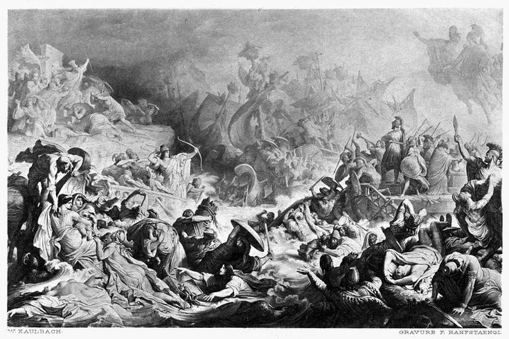 Battle Of Salamis, 480 B Painting by Granger