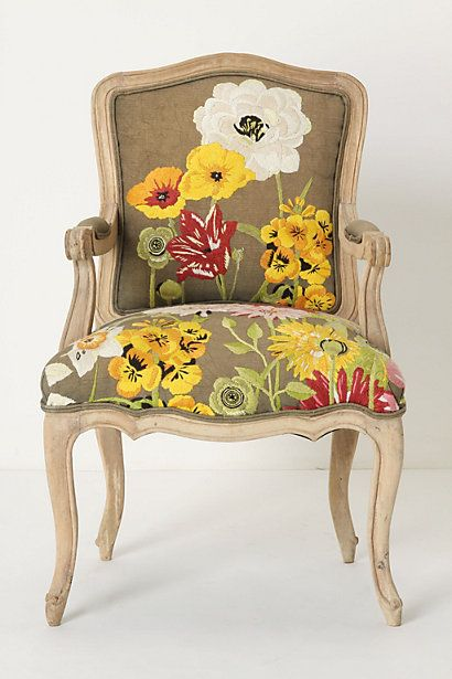 anthropologie: Canes Chairs, Floral Prints, Floral Patterns, Floral Chairs, Conservatory Chairs, Pretty Flowers, Paintings Burlap, Old Chairs, Accent Chairs