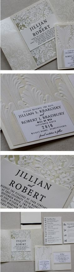 Classic white wedding invite and save the date with textural hand-painting.  The save the date features art deco inspired design work, while the invitation boasts letterpress with a stunning white on white floral pattern to give a flocked look.  #momentaldesigns  #kristyrice  #whitewedding  #handpaintedinvite  #handpaintedsavethedate  #classicstationery  #flockedinvite